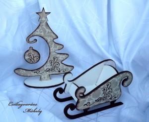 Szett, karácsonyfa+szánkó
