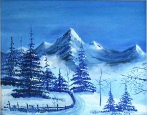 Téli hegyvidék, 30x40 cm, olaj