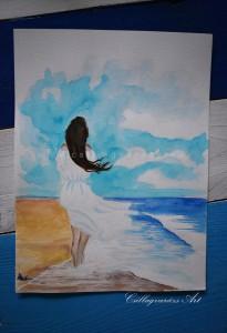 Tengerparti lány, akvarell, A4